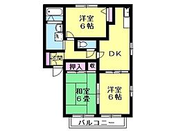 サンフレグランス富岡 2階3DKの間取り