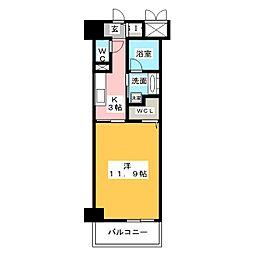 ベルオレイル 6階1Kの間取り
