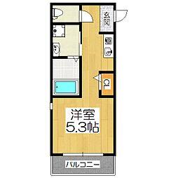 サンフェリシアン東福寺 1階ワンルームの間取り