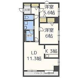 北海道札幌市白石区菊水八条2丁目の賃貸マンションの間取り