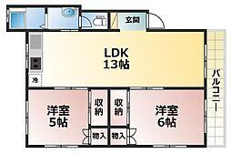 曽和山マンション[3階]の間取り