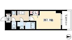 プレサンス桜通ベルノ 9階1Kの間取り