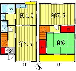 [テラスハウス] 千葉県松戸市横須賀2丁目 の賃貸【/】の間取り