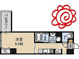 JR片町線(学研都市線) 徳庵駅 徒歩1分の賃貸マンション 5階1Kの間取り