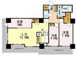Osaka Metro堺筋線 長堀橋駅 徒歩2分の賃貸マンション 23階3LDKの間取り