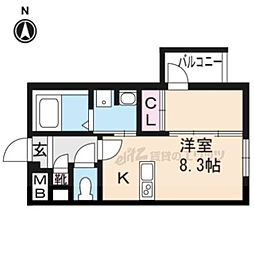 ブーブーヴィラ円町 4階ワンルームの間取り