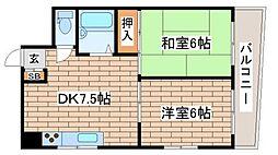 兵庫県神戸市須磨区磯馴町2丁目の賃貸マンションの間取り