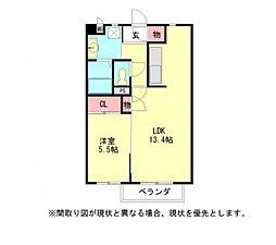愛知県岩倉市稲荷町稲荷の賃貸アパートの間取り
