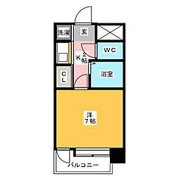 ピュアドーム天神アネックス[3階]の間取り