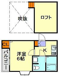 福岡県福岡市城南区別府4丁目の賃貸アパートの間取り