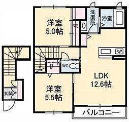 岡山県倉敷市笹沖の賃貸アパートの間取り