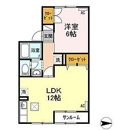 富山県富山市掛尾町の賃貸アパートの間取り