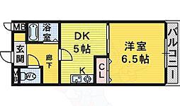 南海高野線 初芝駅 徒歩13分の賃貸マンション 4階1DKの間取り