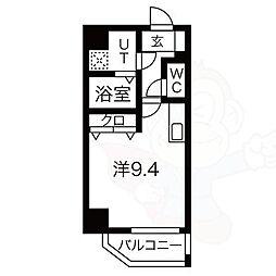 レジデンシア泉2 9階ワンルームの間取り