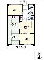 ベルコート松井[4階]の間取り