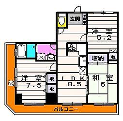 神蔵ビル[801号室]の間取り