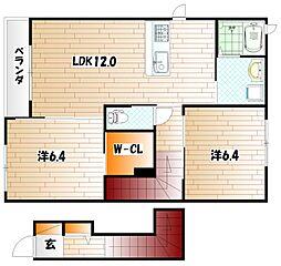 クラージュA棟[2階]の間取り