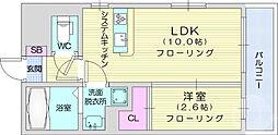 JR東北本線 太子堂駅 徒歩3分の賃貸マンション 2階1LDKの間取り