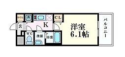 プレサンス高津公園ディオ 8階1Kの間取り