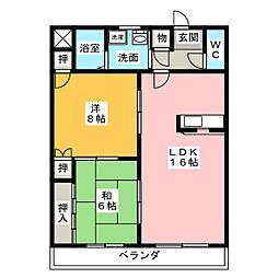 ハイツ池の表[1階]の間取り