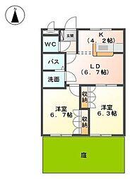 愛媛県松山市東垣生町の賃貸アパートの間取り
