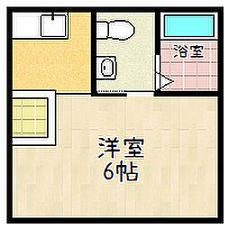 京都府京都市山科区西野山中畑町の賃貸アパートの間取り