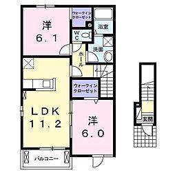徳島県板野郡藍住町矢上字西の賃貸アパートの間取り