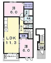 プロムナードK−II[2階]の間取り