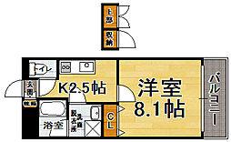 福岡県福岡市中央区春吉3の賃貸マンションの間取り