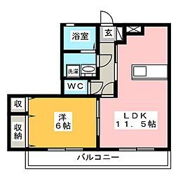 愛知県田原市田原町南番場の賃貸アパートの間取り
