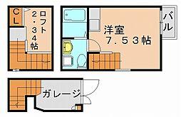 福岡県福岡市博多区西月隈6丁目の賃貸アパートの間取り