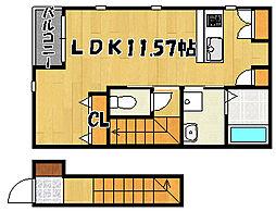 JR山陽本線 西明石駅 徒歩14分の賃貸アパート 2階1Kの間取り