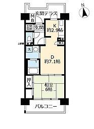 UR奈良学園前・鶴舞 2階1DKの間取り