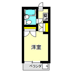 ツリービーマンション 2階ワンルームの間取り