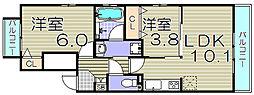 大阪府大阪市西淀川区御幣島2丁目の賃貸アパートの間取り
