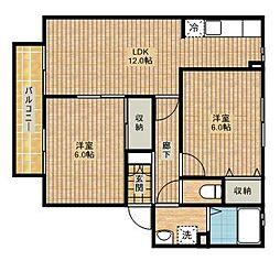 ハイツタチバナB[2階]の間取り