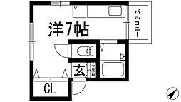 兵庫県西宮市岡田山の賃貸アパートの間取り