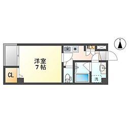 岡山電気軌道東山本線 柳川駅 徒歩6分の賃貸マンション 4階1Kの間取り