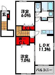 JR鹿児島本線 福間駅 5.3kmの賃貸アパート 2階2LDKの間取り