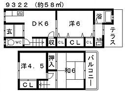 [一戸建] 大阪府羽曳野市南恵我之荘6丁目 の賃貸【/】の間取り