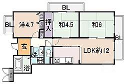 シャトー谷浦[2階]の間取り