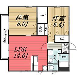 千葉県千葉市若葉区若松台2丁目の賃貸アパートの間取り