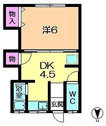 奈良県奈良市山陵町の賃貸アパートの間取り