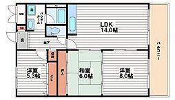 シャトー南船場[4階]の間取り