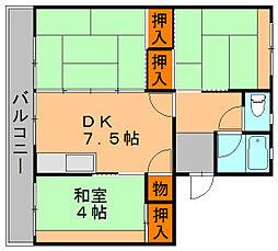 福岡県福岡市博多区麦野2の賃貸マンションの間取り