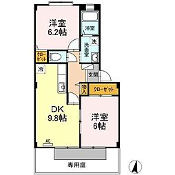 フォブール十三軒屋[1階]の間取り