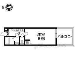 JR山陰本線 丹波口駅 徒歩6分の賃貸マンション 1階1Kの間取り