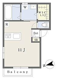 (仮)所沢市上新井2丁目新築計画 3階ワンルームの間取り
