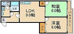 エルトレスB 2階2LDKの間取り