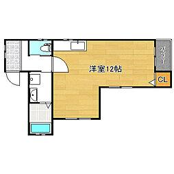 Cheliceアパートメント平野東 2階ワンルームの間取り
